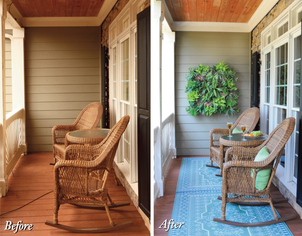 h - Porch w living wall b & a