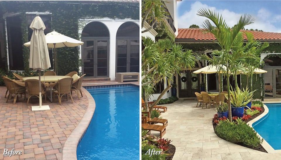 Pool landscape renovation Boca Raton